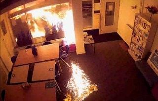 vlammen na explosie bij pand Dantestraat