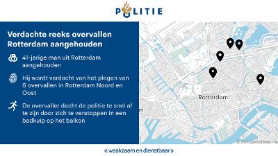 Rotterdam - Overvaller verstopt zich in badkuip